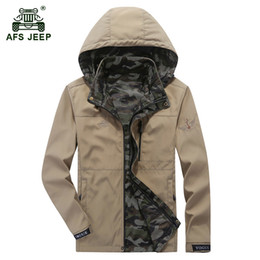 081dfe44750 AFS JEEP 2018 Весна мужской случайный бренд камуфляж быстросохнущий куртка  большой размер армейское пальто осень человек военные куртки хаки пальто  дешево ...