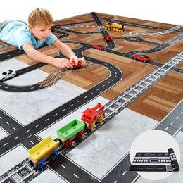 Wholesale road games - Track Car Toys For Children Play Car Games DIY Road Rail Belt Sticker Road Scene Toy Sign Sign Roadblock Traffic