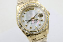 Wholesale C7 Red Green - AAA Luxury Brand Watch Gold President Day-Date Diamonds Watch Men Stainless Mother Of Pearl Diamond Bezel Automatic WristWatch Watches C7