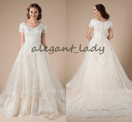 Wholesale Short Sleeve Modest Formal Dress - A-Line Lace Tulle Vintage Modest Wedding Dresses With Short Sleeves Appliques Formal Country Western LDS Wedding Dresses Temple Bridal Gowns