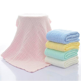 Wholesale Wholesale Muslin Gauze - 5 Colors 105cm*105cm Newborn Cotton Hold Wrap Infant Muslin Blankets Baby 6 Layers Gauze Bath Towel Swaddle Receiving Blankets CCA8819 30pcs