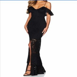 robes de soirée style trompette Promotion Mode élégante noir rouge blanc robe de bandage robe moulante spaghetti sangle femmes dentelle maxi robes trompette robe de soirée