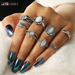 2019 midi metal Boho color plata Opal Knuckle Midi Ring Set para mujer Metal hoja talla anillos de dedo 8pcs / 1set Bijoux Femme midi metal baratos