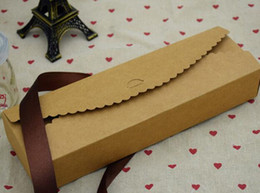 2020 emballage de papier kraft macaron Nouveau Papier Kraft festonné Petite Boîte - Mariage / Party Favor - Savon / Gâteau / Macaron / Cookie Emballage - Boîte cadeau livraison gratuite emballage de papier kraft macaron pas cher
