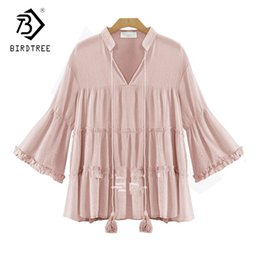 Wholesale Black Linen Blouse - 2017 Spring Summer Linen High Street Fashion Blouse With Tassel Solid V-neck Shirt Flare Sleeve Slim Plus Size Chic T81850Q