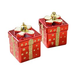 Wholesale Ornament Gift Boxes Wholesale - Electroplating Christmas Gifts Ornament Mini Gift Box Pendant Candy Gift Bag