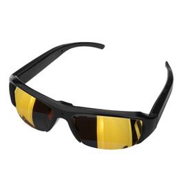 câmera dvr de óculos de sol Desconto Venda quente HD 1080 P Camera Eyewear Gravador de Vídeo Esportes Óculos de Sol Câmera de Gravação de Segurança DVR Óculos Portátil Filmadora Ouro Preto