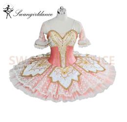 Princesa de hadas rosa online-Pink Peach Fairy Princess Professional Tutu Mujeres Ballet Panqueque Traje Disfraz Bellrina Pink Tutu BT9039
