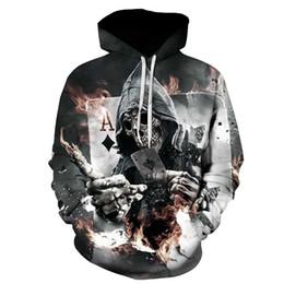 Толстовка в покере онлайн-JACKDISI  New Design Skull Poker Print Men Hoodies Funny 3D Sweatshirts Autumn Winter Pullover Hooded Tracksuits Fashion