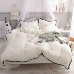 ropa de cama princesa moderna Rebajas Ms.O 100% algodón princesa rosa contraste sólido color liso bordado de encaje funda nórdica conjunto decoración de la boda moderna juego de cama
