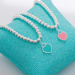 2019 pulseiras com miçangas Jóias de luxo S925 pulseiras de prata esterlina esmalte coração pingente pulseiras azul contas de buda moda quente livre de transporte