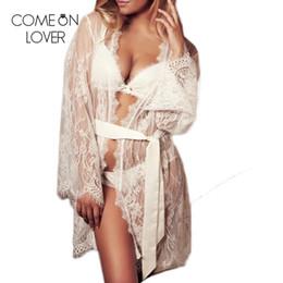 Camisón de manga larga de encaje blanco online-Comeonlover Boda corto para mujer kimono albornoz blanco negro de encaje cinturón noche bata de manga larga en casa camisón lencería RL80528