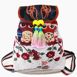 Broderie thaïlandaise en Ligne-Tribal Vintage Hmong Thai Indian broderie ethnique Bohème Boho sac à dos Boho hippie ethnique sac à dos sac taille L taille st-016