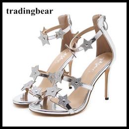 2aa5a4b17b 10cm Glitter Prata Estrelas Cinta de tornozelo Sapato de salto alto sapatos  de casamento dama de honra princesa sapatos de dança 2018 Tamanho 34 a 40