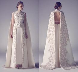 Vestidos de noiva vintage on-line-Vestidos de noite Árabe Zuhair Murad Alta Pescoço Longo Prom Vestidos Applique Bainha Pageant Dividir Frente Melhor Vestido de Noite Formal para o Casamento '