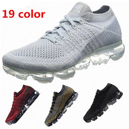 Wholesale Women Casual Shoes Woven - 2018 VaporMax Running Shoes Weaving racer Ourdoor Athletic Sporting Walking Sneakers for Women Men Fashion pink Casual maxes 849558-006