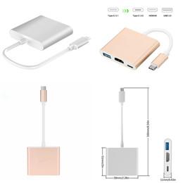 Wholesale Digital Hd Converter - Type C HDMI+USB+Type C Digital Adapter HD Convertable Cables HDMI4K Converter Charging port free DHL shipping