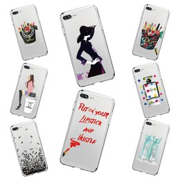 Wholesale Transparent Beauty Cases - Soft Silicone Lovely Beauty Makeup Model Case For Iphone X 6 6S 7 8 8Plus 7Plus Transparent Clear TPU Phone Back Cover