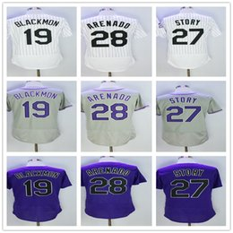 Wholesale purple stories - 28 Nolan Arenado Men Jersey 19 Charlie Blackmon Baseball Jersey Mens 27 Trevor Story Baseball Jerseys