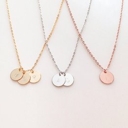 Wholesale custom engraving necklace - Engraved Initial Inspirational Quote Custom Name Necklace Unique Initial Personalized Disc necklace for women Gifts