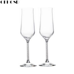 Wholesale Champagne Glasses Flutes - GFHGSD Champagne Glass Flutes Perfect for Wedding Gifts, Set of 2, Luxury K9 Crystal Toasting Flutes and Wine Glasses RFG102