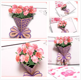 Wholesale Small Gift Cards Wholesale - New Design Mother's Day Three-dimensional Greeting Card Creative 3D Carnation Bouquet Handmade Gifts Wishes Small Cards Can be customized