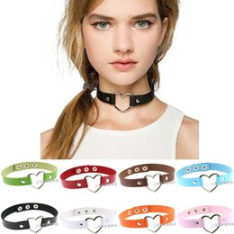 Women Lady Favorite Punk Goth Harajuku Grunge Leather Rivet Heart Funky Torques Collar Gothic Choker Necklace Fine Jewelry#S nereden