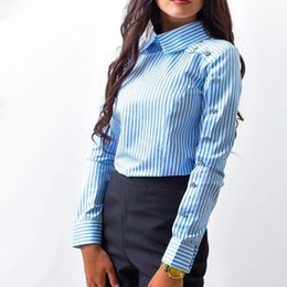 Wholesale Women Striped Button Down Shirt - Striped Button Casual Women tops and Blouses 2018 New Spring Fashion Long Sleeve Turn Down Collar Shirt Vintage OL Tops Female