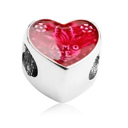 Rote valentine armbänder online-Trendy 925 Sterling Silber Herzschlag Rote CZ Perlen Fit Charms Armbänder DIY 925 Perlen Schmuck Machen für Valentinstag Geschenk