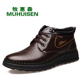 Wholesale red moccasin boots - Brand Men Boots Big Size 38-44 Men Winter Boots Warm Plush Ankle Snow Male Moccasin Winter Shoes