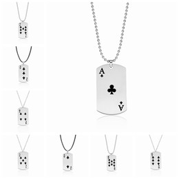 Wholesale popular poker - Clubs Playing Card Pendant Necklaces Stainless Steel Poker Tag Jewelry Women Men Charm Popular Necklace Wholesale New Arrival