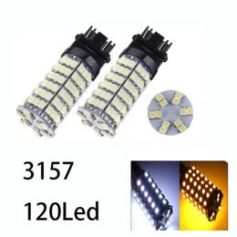 2019 lampadine a base di ambra Luci per auto 120SMD T25 / 3157/1157/7443 Lampadine per auto a LED a doppio colore LED giallo / giallo ambra sconti lampadine a base di ambra