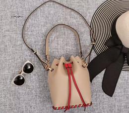 Wholesale leather bag long strap - New Arrival 9005 Mon Tresor Calfskin Leather Bucket Shoulder Bag,Drawstring Fastening,Metal Decorations,1 long 1 short Straps,Free Shipping