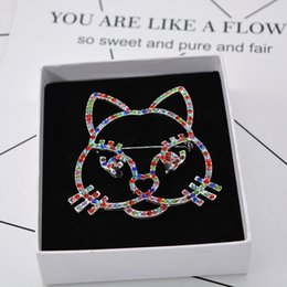 Wholesale Nice Birthday Party - New Luxury Brand Designer AAA Colorful Rhinestone Kitty Cat Brooch Pin Men Women Suit Lapel Pin Brooch Nice Birthday Gift for Friends NL-533
