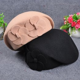 340ba2c9936ae Autumn and winter ladies elegant British style double flowers wool beret  fashion hatless painter hat discount red army beret