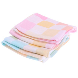 Wholesale Children Nurses - Wholesale- Double Layers Gauze Baby Towel Children Small Handkerchief Soft Cotton Baby Bibs Infant Plaid Nursing Towel 50 X 25cm