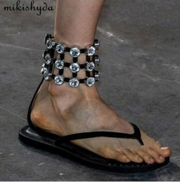7ab83defe1d24 2018 catwalk diamond cutouts Flat Flip Flop Thong Roman Sandals women  sheepskin leather strappy shoes Black