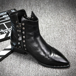 Wholesale Punk Heels - Free shipping Women genuine leather flat heel British style ankle boots black spike punk booties
