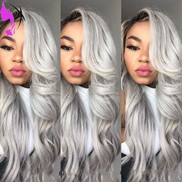 Wholesale blue ombre - Side part body wave black to silver grey ombre synthetic lace front wigs dark roots for africa american glueless heat resistant fiber hair