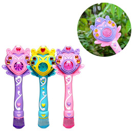 Wholesale Battery Magic Wand - New Fashion Fully-Automatic Bubble Machine Magic Wand Bubble Gun Toy Bubble With Music And Light Children Party Birthday Gift