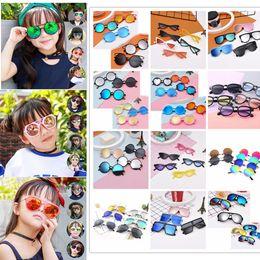 Wholesale korean sunglasses style - 12 Styles Fashion Cute kids sunglasses UV 400 protection baby glasses tide children Korean version of boys girls Children sunglasses AAA686