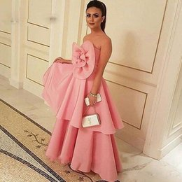 Wholesale Nude Ladies Art - New Arrival Big Flower Satin Pink Evening Dresses Formal Pageant Dresses Middle East Style Saudi Lady Fashion Prom Party Gowns Aramex
