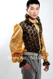 Wholesale Tuxedo Decorations - Free shipping fan collar prince stage sequins decoration mens tuxedo shirts party event shirts latin dance performance