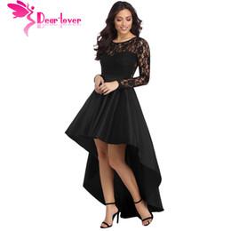 vestido formal de encaje negro casual mangas Rebajas Apreciado Lover Party Gowns Formal Dress Mujer Otoño Negro manga larga Lace High Low Satin Vestido Robe vestido de fiesta larga LC61910