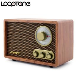 2019 legno artigianale LoopTone da tavolo AM / FM Radio Bluetooth Vintage Retro Classic Radio W / Altoparlante incorporato TrebleBass Control Legno lavorato a mano legno artigianale economici