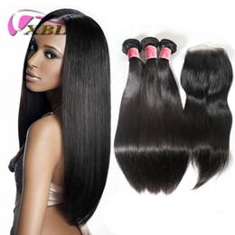 Extensión de la pinza de pelo superior online-Pinza para cabello humano xblhair en extensiones de cabello humano virgen 3 paquetes y un top de encaje de cierre gratuito en oferta