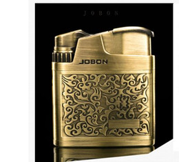 Wholesale Inflatable Cigarette - Jobon lighter anti wind ultra thin classic inflatable retro relief metal texture