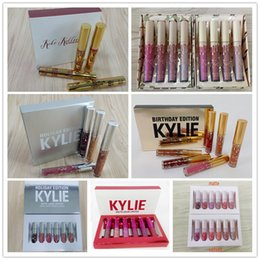 Wholesale More Golds - Kylie Jenner Gold Birthday Edition i want it all send me more nudes Matte velvet holiday valentine Liquid Lipstick Lip Gloss 6pcs set