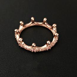 Marca nuevo 18K de oro rosa plateado anillo de la corona con la caja del diamante de la CZ regalo original para los anillos de joyería de Pandora Plata de Ley 925 para la Mujer desde fabricantes