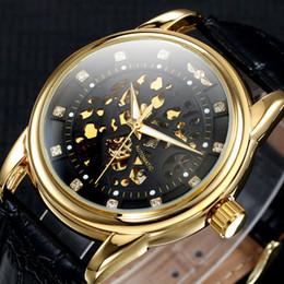 2019 vigilanza del diamante vincente 2018 Nuovo Top Luxury WINNER Automatic Self-Wind Skeleton Watch Diamond Dial in pelle da polso da uomo Business orologi da polso Feminino Orologio vigilanza del diamante vincente economici